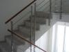 Treppengelaender Chromstahl und Holz